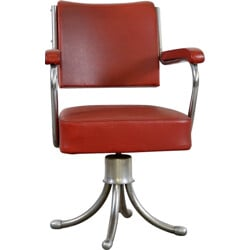 Gispen office chair in red leatherette and chromed metal - 1950s