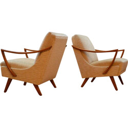 Pair of silk velvet armchairs - 1950s