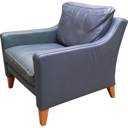 Armchair in blue leather - 1970s