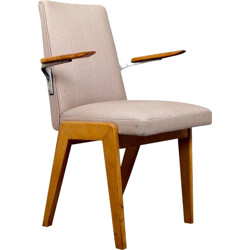 French armchair in oak and beige fabric - 1950s