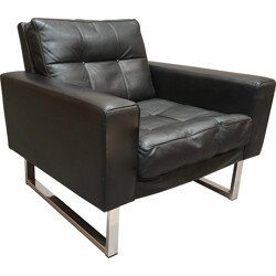 Black armchair in leather and chromed metal - 1950s