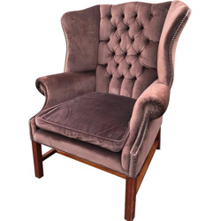 English wing chair in velvet and mahogany - 1930s