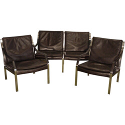 Knoll leather armchairs and bench, Preben FABRICIUS et Jorgen KASTHOLM - 1970s