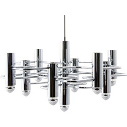 SA Boulanger chandelier in chromed metal, Gaetano SCIOLARI - 1960s