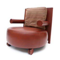 Red brown leather armchair, Antonio Citterio - 1970s