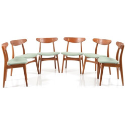 "Set of 6 Carl Hansen ""CH-30"" chairs in oak and mint green fabric, Hans J. WEGNER - 1950s"