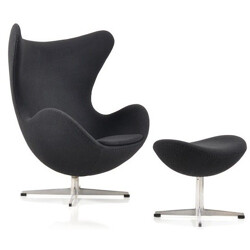 "Fritz Hansen ""Egg"" chair with its ottoman in black fabric, Arne JACOBSEN - 1960s"