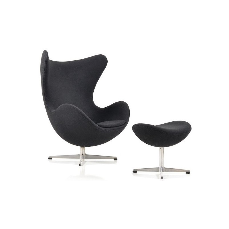 Fritz Hansen Egg Chair With Its Ottoman In Black Fabric Arne Jacobsen