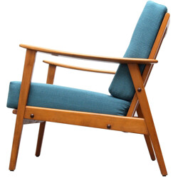 Armchair in solid wood and petrol blue fabric - 1950s
