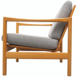 Armchair in solid wood and grey fabric - 1960s