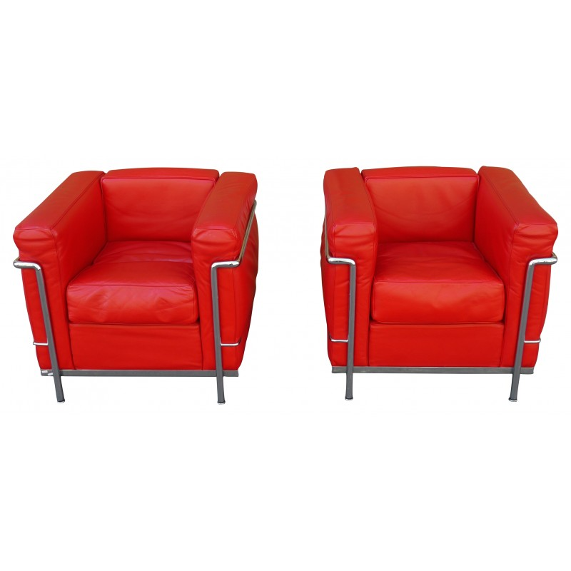 Pair Of Lc2 Armchairs Le Corbusier Charlotte Perriand And Pierre Jeanneret 1990s Design Market