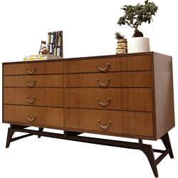 Large Meredew chest of drawers in wood and metal - 1950s