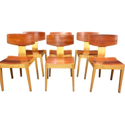 Set of 6 stackable chairs in rosewood and oak, Egon BRO - 1960s