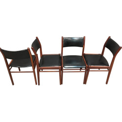 Set of 4 chairs in teak and leatherette - 1950s