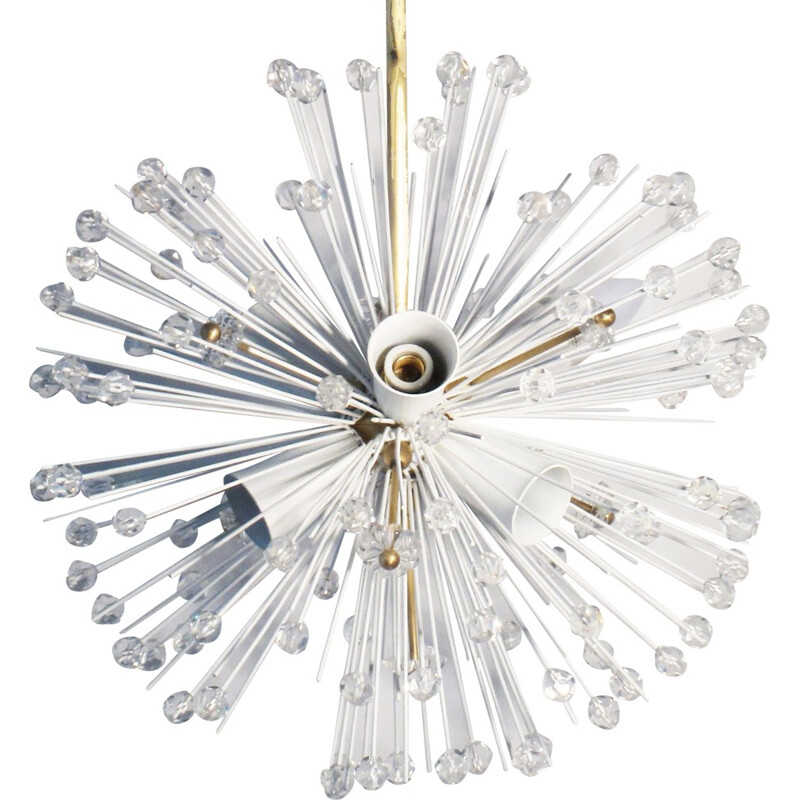 "Vintage ""Snowball"" chandelier in glass and brass - 1950s"
