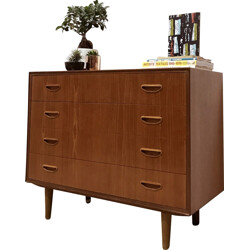 Mid-century chest of drawers in teak and solid birch - 1960s