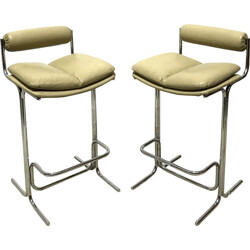 """Pair of Pieff """"Eleganza"""" bar stools in leather and chromed metal - 1970s"""