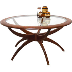 """Round G-Plan """"Astro Spider"""" coffee table in afromosia wood, Victor WILKINS - 1970s"""