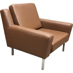 Mid century armchair in leather and chromed metal - 1960