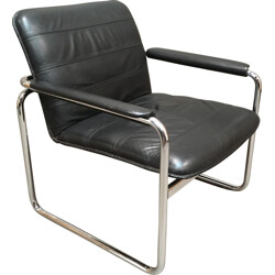 Mid century armchair in chormed metal and leather - 1960s