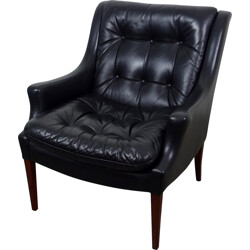 German Antimott Knoll armchair in black leather, Walter KNOLL - 1960s