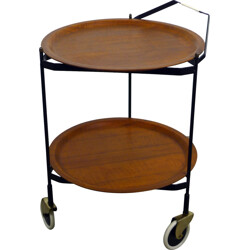 Mid century serving trolley with removable teak tray - 1950s