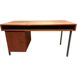 Vintage desk in teak and metal with storage - 1950s