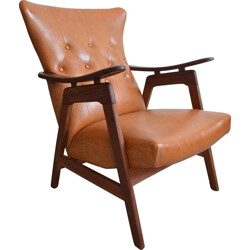 Teak and brown leatherette armchair - 1950s