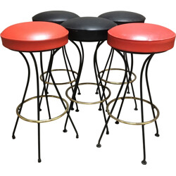 Set of 5 high stools in metal and leatherette - 1950s
