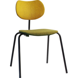Thonet chair in mustard yellow and olive green fabric - 1950s