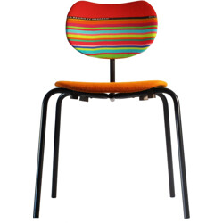 Reupholstered Thonet chair in multicolored wool fabric - 1950s