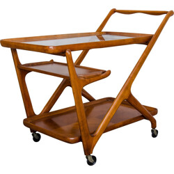 Cassina Italian walnut serving trolley, Cesare LACCA - 1950s