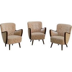 Set of 3 cocktail chairs in velvet - 1950s