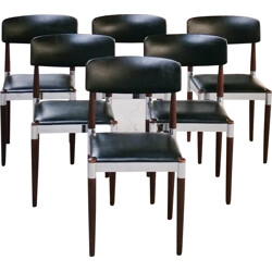 Set of 6 dining chairs in wood chromed metal and leatherette - 1960s