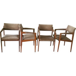 Set of 4 Thonet armchairs in solid teak and beige fabric - 1960s