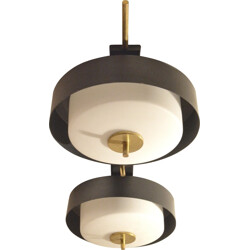 French Maison Arlus ceiling lamp in opaline glass and brass - 1950s