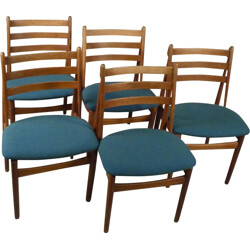 """Set of 5 FDB Møbler """"J60"""" dining chairs oak and blue fabric, Poul M. VOLTHER - 1950s"""