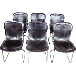 Cidue set of 6 dining chairs, Willy RIZZO - 1970s