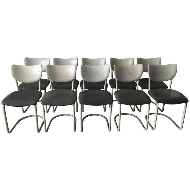 Set of 10 Gispen chairs in grey leatherette, Brothers DE WIT - 1950s