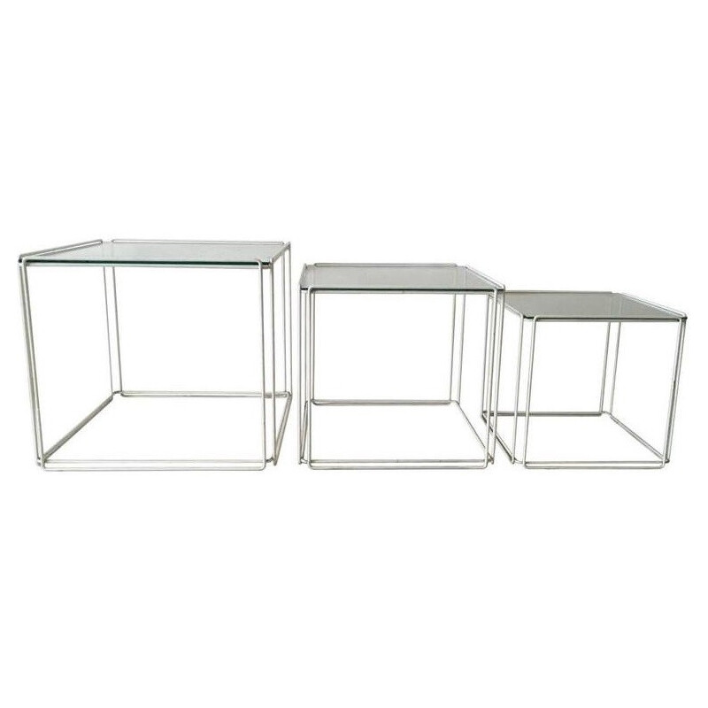 "Set of Atrow ""Isocele"" nesting tables in glass and metal, Max SAUZE - 1970s"