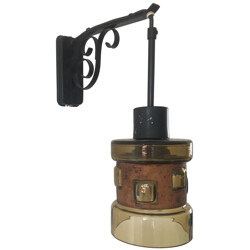 Mid-century lantern in copper and black lacquered metal - 1960s