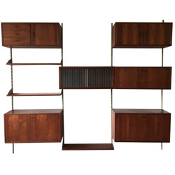 Mid-century wall unit in teak and metal - 1960s