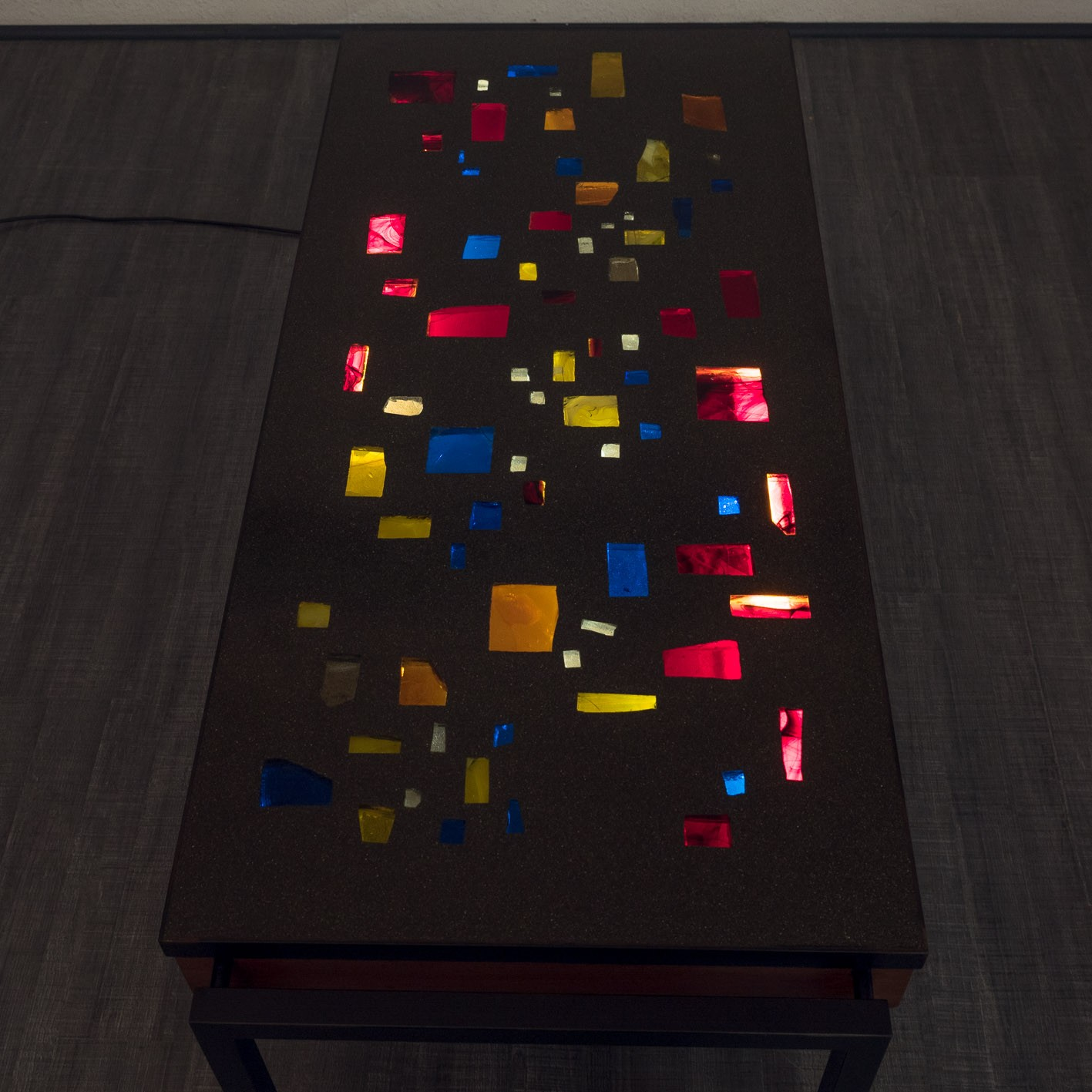 Illuminated coffee table in teak resin and steel 1960s Design