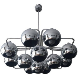 Large chandelier in chromed metal - 1960s