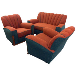 Mid century lounge set with a sofa and 2 armchairs - 1930s