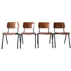 Set of 4 industrial Marko Holland chairs in wood and black metal - 1960s