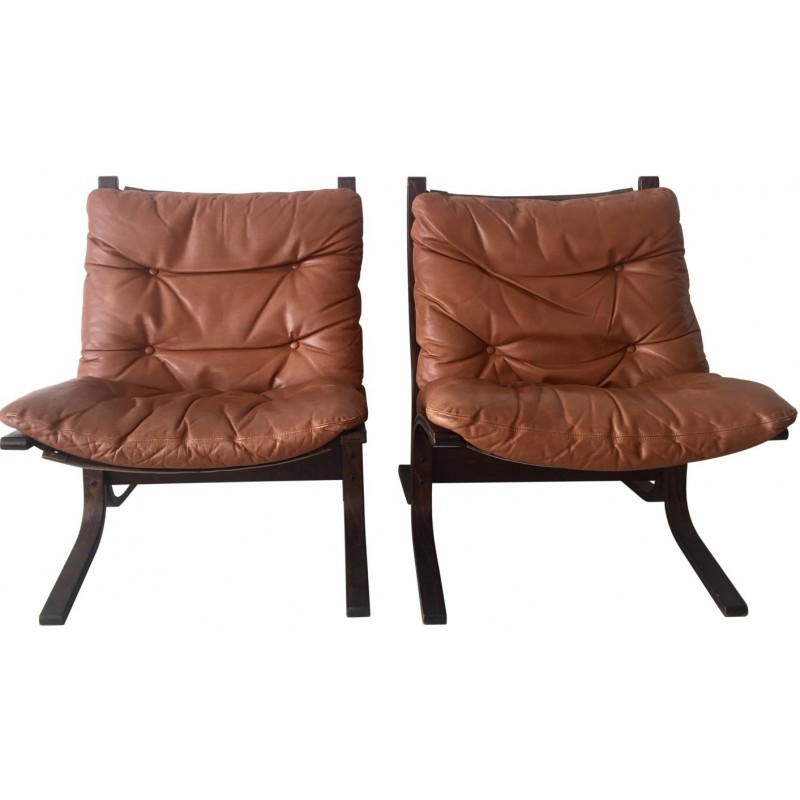 "Pair of Westnofa Furniture ""Siësta"" armchairs in cognac leather, Ingmar RELLING - 1960s"