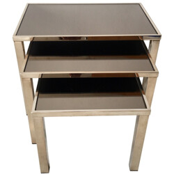 Set of 3 Belgo nesting tables in gold-plated metal and mirrored glass - 1960s