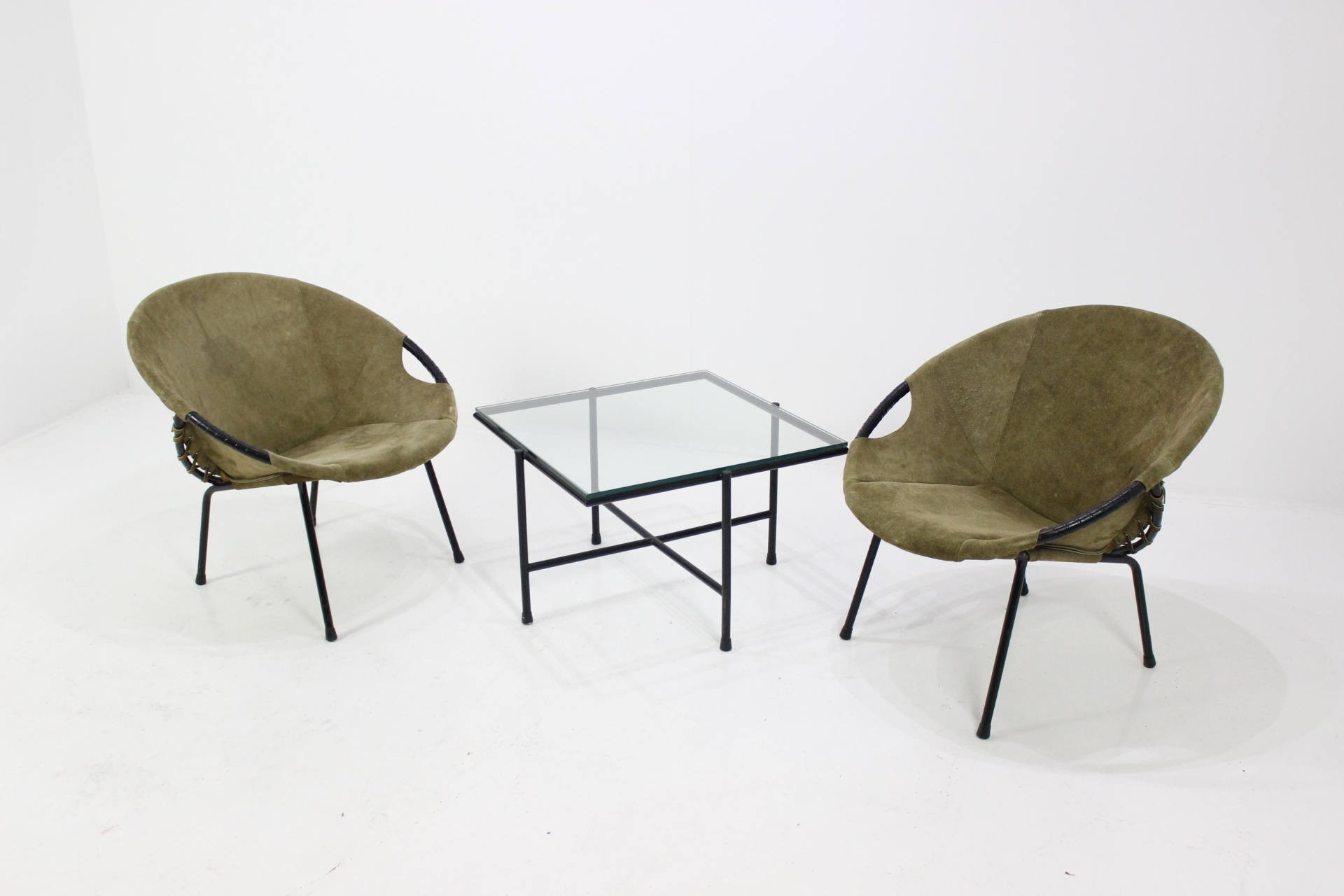 "Set of 2 Lusch & Co ""Circle Chair ""armchairs and table Lusch"