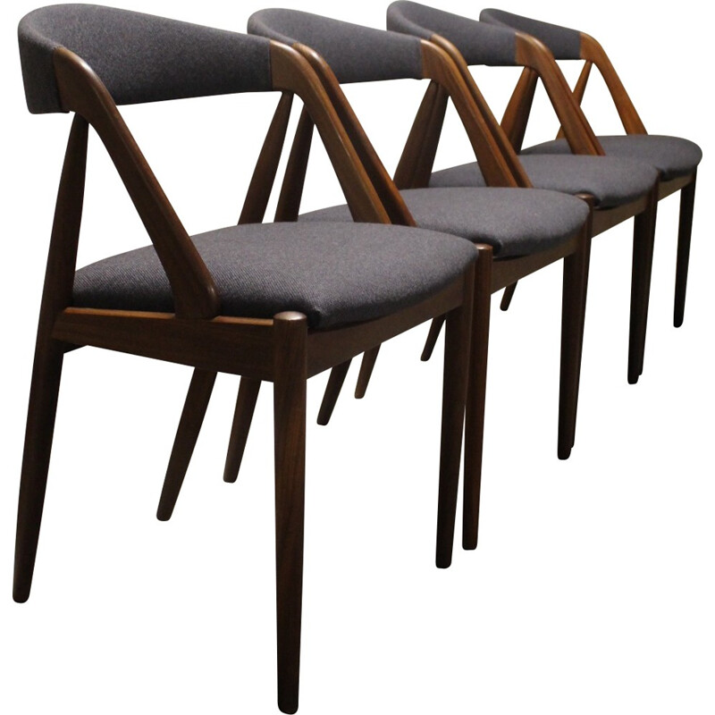 Set of 4 Schou Andersen chairs in rosewood and grey fabric, Kai KRISTIANSEN - 1950s